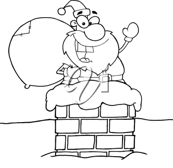 Clipart Image of A Coloring Page of Santa Going Down the Chimney on Christmas Eve
