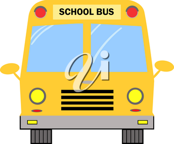 Clipart Illustration of The Front of a Yellow Bus