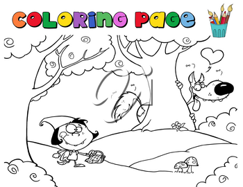 Clipart Illustration of A Coloring Page of Little Red Riding Hood Walking By the Wolf In the Forest