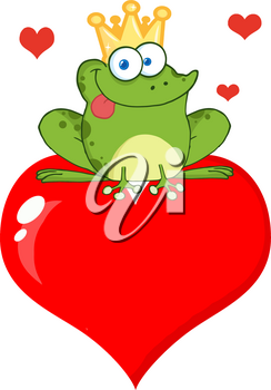 Clipart Illustration of A Goofy Frog Sitting on Top of a Large Valentine Heart