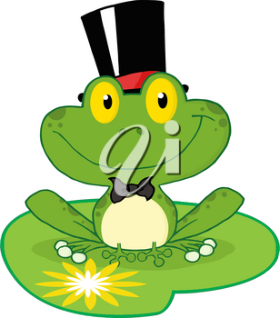 Clipart Image of A Frog Groom Sitting on a Lily Pad
