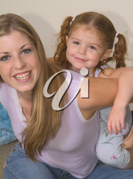 Stock Photo of a Little Girl and Her Mom