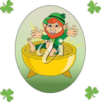 Clip Art Image of a Leprechaun Sitting on a Pot of Gold