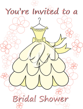 Clip Art Image of a Bridal Shower Invitation of a Gown on a Hanger
