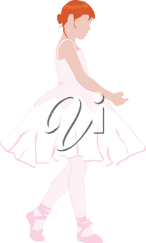 Clip Art Image of a Red Haired Ballerina Girl