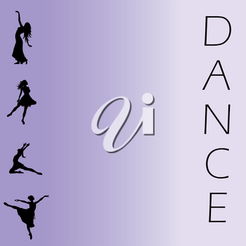 Clip Art Image of a Dance Background With Women Dancing Silhouettes