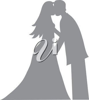 Clip Art Image of a Bride and Groom Kissing Silhouette