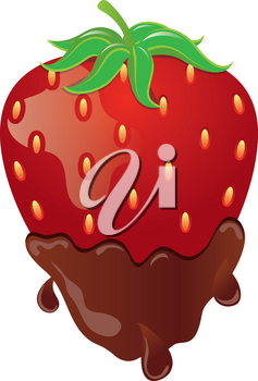 Clip Art Image of a Juicy Strawberry Dipped in Chocolate