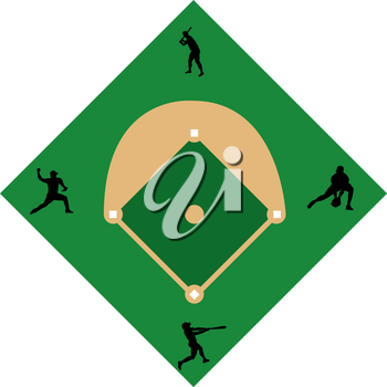 Clip Art Image of a Baseball Diamond With Baseball Players in Silhouette