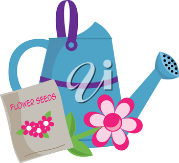 Clip Art Image of a Watering Can With a Packet of Flower Seeds