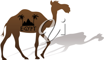 Clip Art Image of a Camel With Egypt Travel Logo