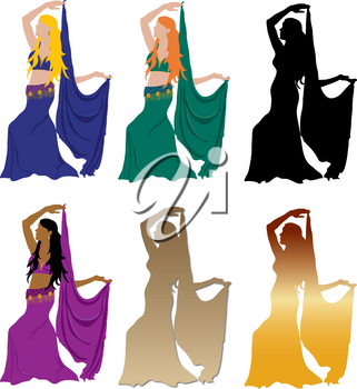 Clip Art Illustration of a Collection of Belly Dancers