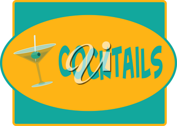 Clip Art Illustration of a Retro Cocktails Sign With a Martini