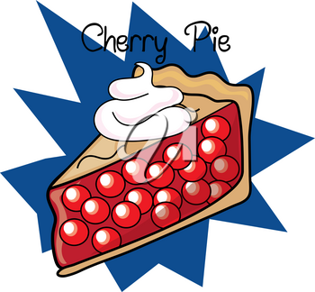 Clip Art Illustration of a Piece of Cherry Pie Icon