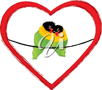Clip Art Image of Two Lovebirds Sitting in a Heart