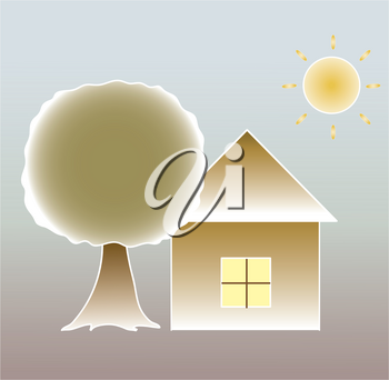 Clip Art Illustration of a Simple House or Cottage