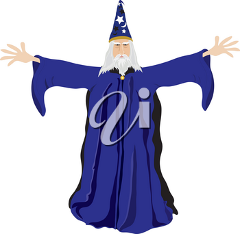 Clip Art Illustration of an Old Wizard