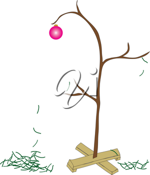 Clip Art Illustration of a Christmas Tree With It's Needles Falling Off