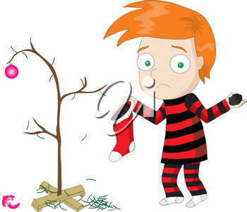 Clip Art of a Scrawny Tree, a Stocking of Coal and a Sad Boy at Christmas