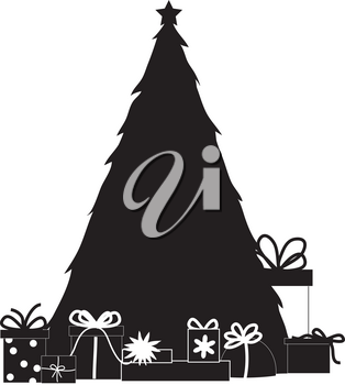 Clip Art Illustration of a Christmas Tree In Black and White
