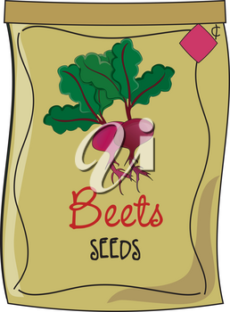 Clip Art Illustration of a Packet of Beet Seeds