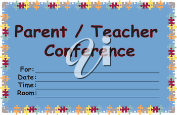Clip Art Illustration of a Parent Teacher Conference Notice