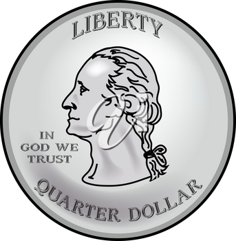 Clip Art Illustration of Coin Currency- Quarter