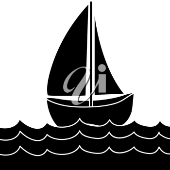 Clip Art Illustration of a Sailboat Silhouette