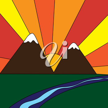 Clip Art Illustration of a Sunset in the Mountains