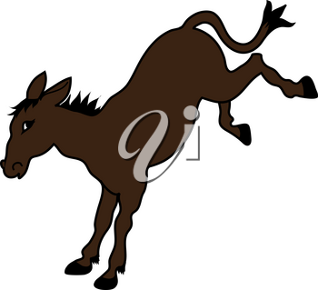 Clip Art Illustration of a Cartoon Donkey Kicking With His Back
