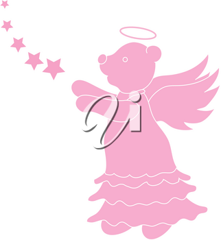 Clip Art Illustration of a Teddy Bear Angel Silhouette