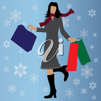 Clip Art Illustration of a Woman With Shopping Bags