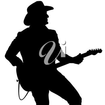 Clip Art Illustration of a Country Guitar Player Silhouette