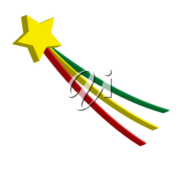 Clip Art Illustration of 3D Shooting Star With Tail