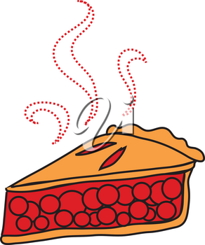 Clipart Illustration of a Piece of Cherry Pie