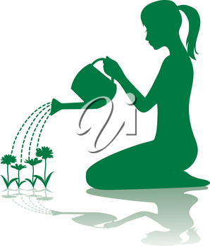 Clipart Illustration of a Silhouette of a Woman Watering Flowers
