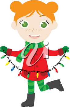 Clipart Image of A Happy Redheaded Girl Holding Christmas Lights