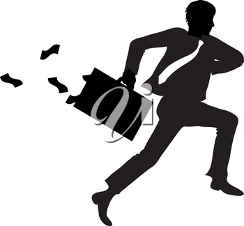 Clipart Illustration of Embezzler Running Away With Money