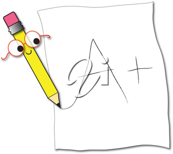 Clipart Illustration of a Pencil Character Writing an A+ on a Student's Paper
