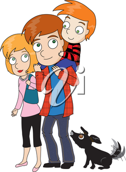 Clipart Illustration of a Boy With His Family and His Doggy