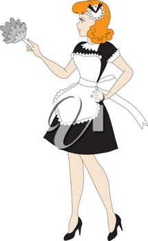 Royalty Free Clipart Illustration of a Retro French Maid