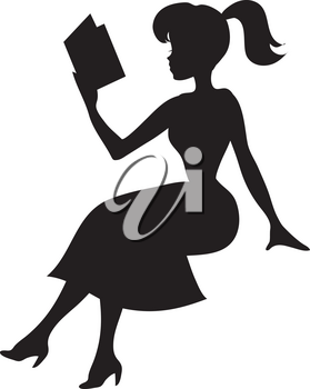 Royalty Free Clipart Illustration of a Woman Sitting and Reading