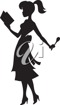 Royalty Free Clipart Illustration of a Woman Reading a Cookbook