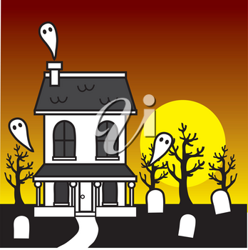 Royalty Free Clipart Illustration of a Haunted House