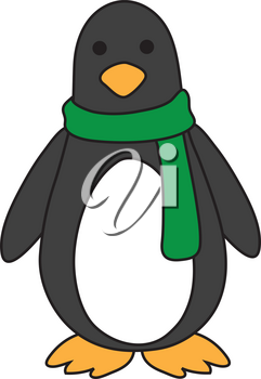 Royalty Free Clipart Illustration of a Penguin in a Green Scarf