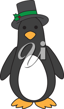 Royalty Free Clipart Illustration of a Penguin in a Hat