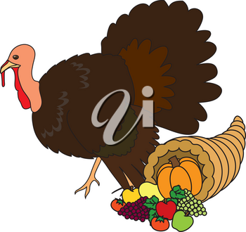 Royalty Free Clipart Illustration of a Turkey and Cornucopia