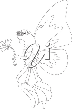Royalty Free Clipart Illustration of a Fairy Holding a Flower