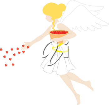 Royalty Free Clipart Illustration of an Angel With Hearts