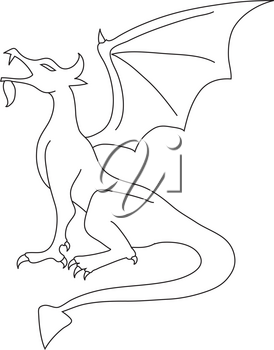 Royalty Free Clipart Illustration of an Outline of a Dragon